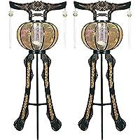 霊前灯 黄金灯 黒 1対(2台1組) 高さ約120cm 廻転筒付 日本製 行灯 盆提灯 八女提灯