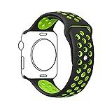 METEQI For Apple Watch Band シリカゲルバンド スポーツシリコンストラップリストバンド交換バンド柔らか運動型 M/L Series 3/2/1 (42MM, 黒/緑)