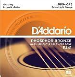 D'Addario ダダリオ アコースティックギター弦 フォスファーブロンズ Light 12弦 .009-.045 EJ41 【国内正規品】
