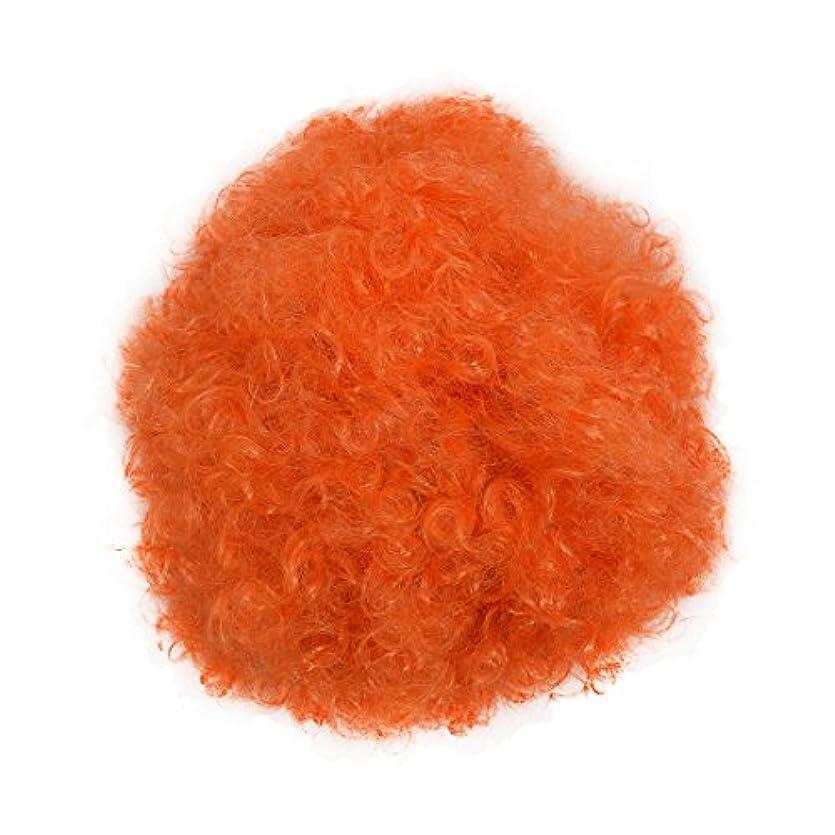 極めて重要なアクティビティ夫RETYLY ハロウィーンメンズ女性オレンジカーリーアフロサーカスクラウンウィッグ