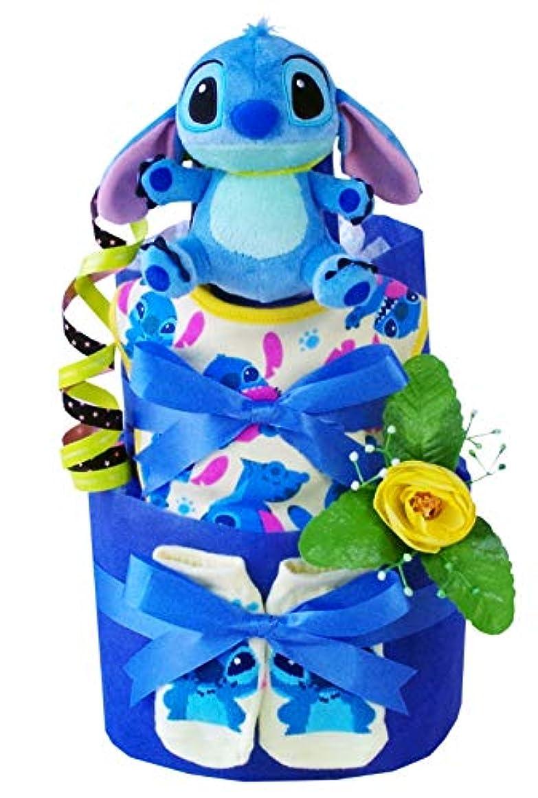 車両ダウンタウン頑丈おむつケーキ ディズニー スティッチ 人形 出産祝い オムツケーキ 男の子 女の子 (パンパースはじめての肌へのいちばん テープM15枚)