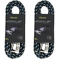 シールドケーブル Afuaim ギターシールド ケーブル SL型 生地編み プロフェッショナルケーブル 3 メートル 2 パックク