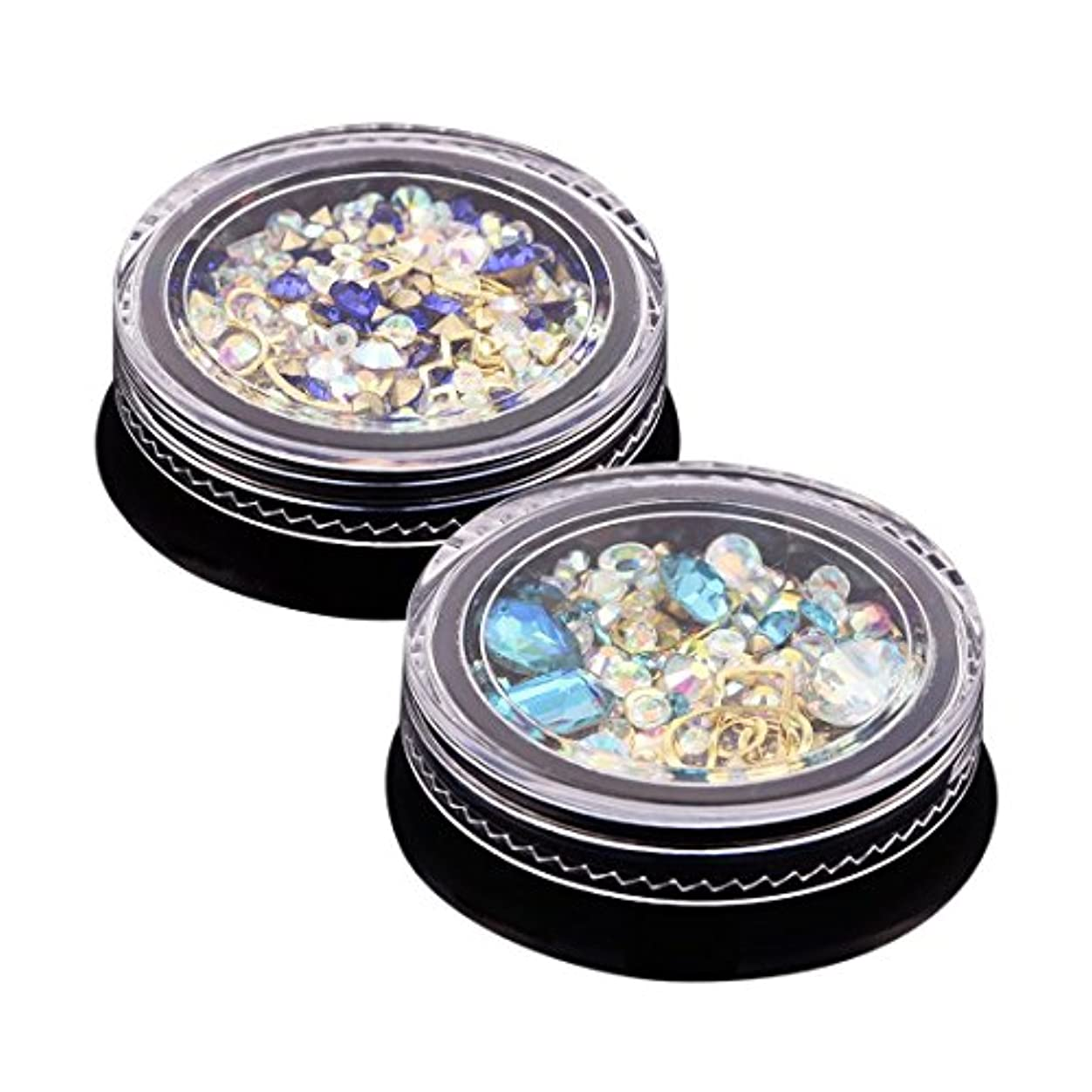 たくさんパスタの慈悲でSODIAL 2ボックス3Dネイルジュエリーカラフル混合アクリルチップダイヤモンドフラットジュエルストーンネイルラインストーンマニキュアDIYネイルアートデコレーション(ロイヤルブルー、アクアブルー各1個)