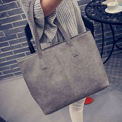 (gray) - Rurah Fashion Women Retro shoulder bag Shoulder Top Handle Handbags Tote Bag Ladies Purses,grey