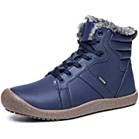 exeblue Lace UP Snow Boots Shoes for Men Women,Water Resistant Lightweight Outdoor Ankle Bootie with Fully Faux Fur Lined