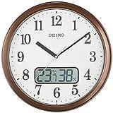 セイコークロック 掛け時計 09:茶メタリック 02:直径31cm 電波 アナログ 温度 湿度 表示 KX244B