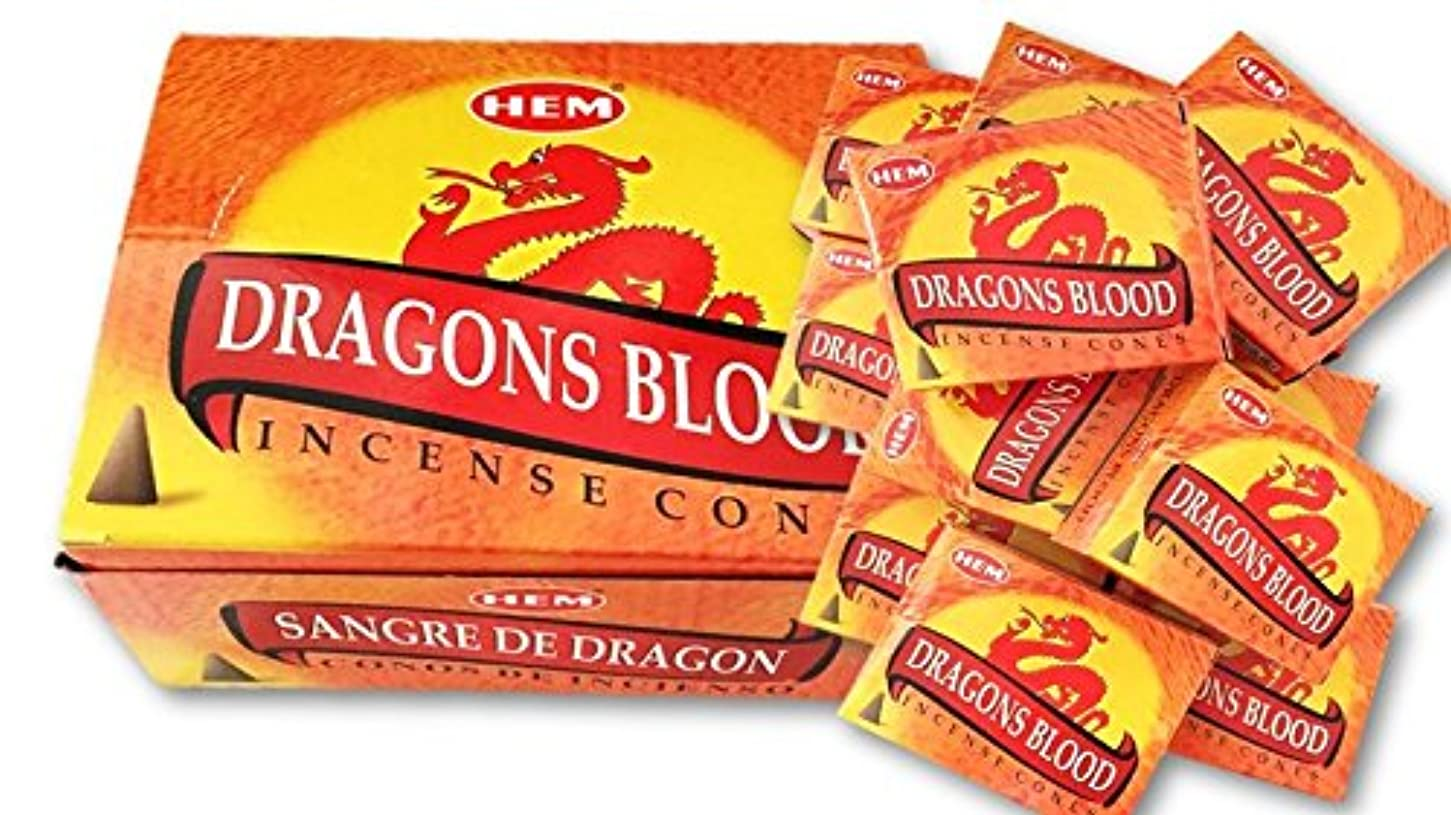 素敵な部分的に敬なHEM(ヘム)お香コーン ドラゴンズブラッド  1ケース(10粒入り1箱×12箱)