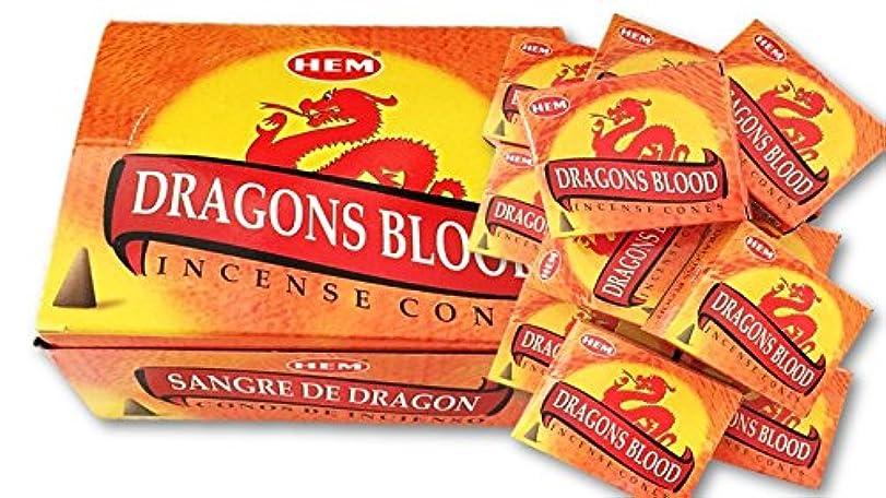 最初にとは異なり日付付きHEM(ヘム)お香コーン ドラゴンズブラッド  1ケース(10粒入り1箱×12箱)