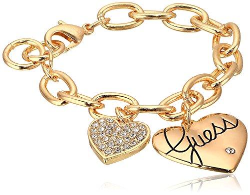 Guess Women's Two Heart Charm Bracelet Gold/Crystal Link Bracelet 8 [並行輸入品]