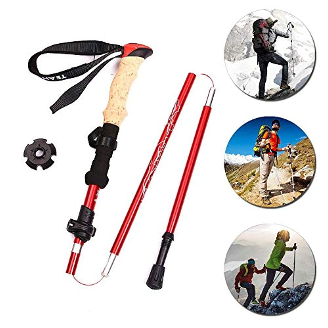 自由シャンパンキノコ屋外歩行アルミニウム杖 登山用具 耐衝撃およびクイックロックシステム 吸汗性ハンドル 持ち運びが容易 超軽量 歩く キャンプ バックパッキング