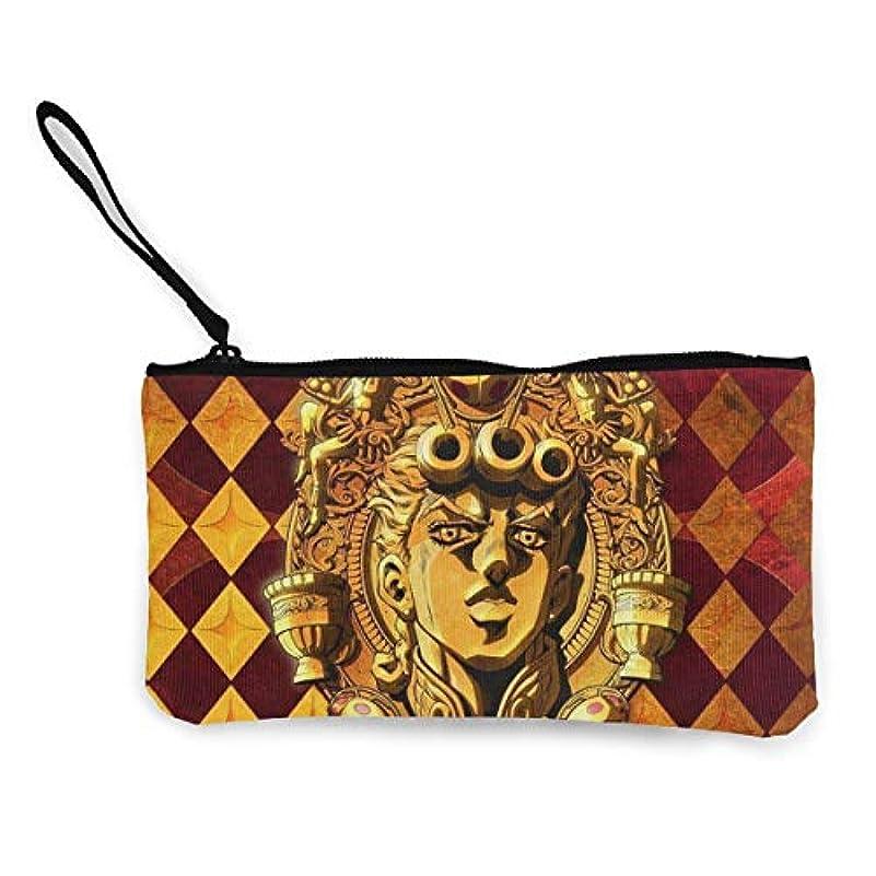 植生スプリット検索エンジンマーケティングジョジョの奇妙な冒険黄金の風 小銭入れ ワレット 財布 キャンバス ジッパー付きハンド 大容量