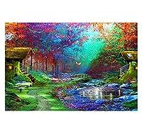 家のための審美的な部屋の装飾アート、5D森林建築風景DIYフルスクエアダイヤモンド絵画刺繍クロスステッチダイヤモンドモザイク家の装飾、40X50Cm