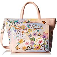 Anuschka Womens Genuine Leather Large Organizer Tote | Hand Painted Exterior | Japanese Garden