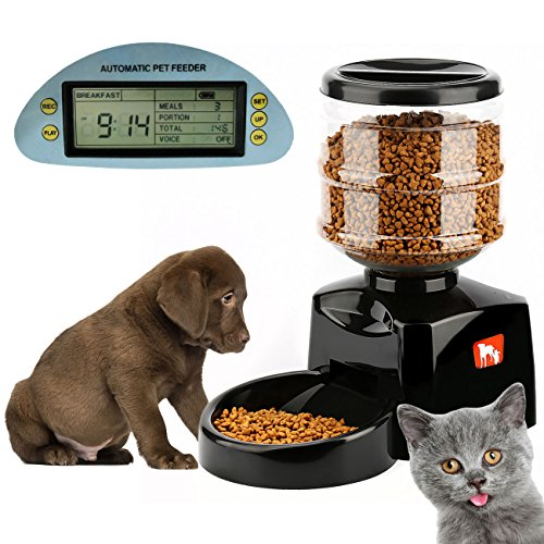 Benchmart 自動給餌器 猫 犬 タイマー式 録音可 自動 餌やり機 えさやり オートフィーダ イヌネコ 給餌器 大容量 5.5L オートペットフィーダー 液晶ディスプレイ付き 定時給食 出張 旅行 犬猫お留守番対策