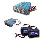 ワンゲイン車中泊スターターセット SPA1512C2 正弦波インバーター1500W 12V+ディープサイクルバッテリー105Ah×2台+充電器+保護用ヒューズ