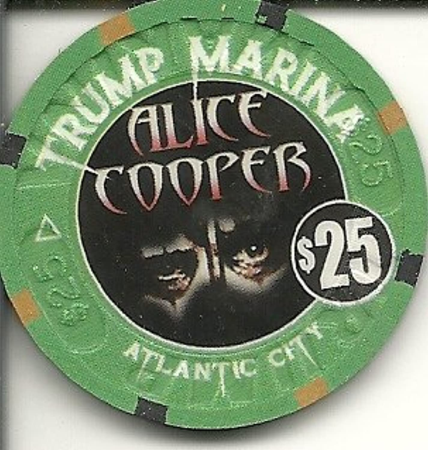 $ 25 Trump Marina Alice Cooper Super Rare Atlantic Cityカジノチップ