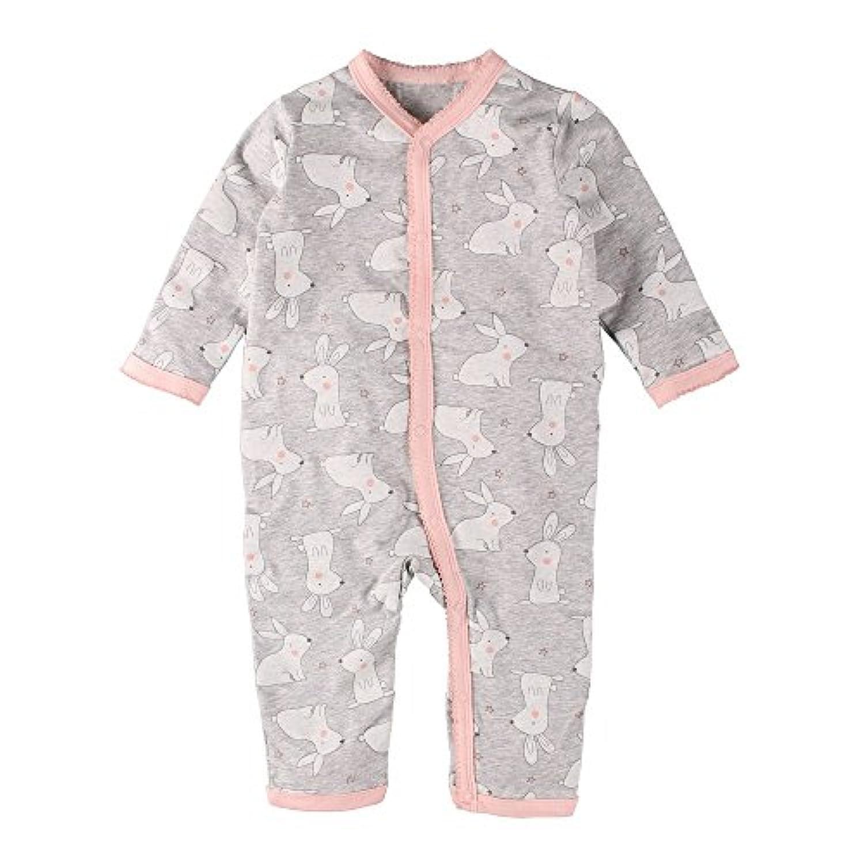 Baby Nest ベビー用 ロンパース カバーオール 前開き 女の子 男の子 長袖 グレー塗り ラビット柄 9-12M