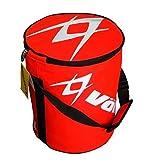 【Life Bank 】 テニスボールバッグ 大容量 持ち運び ラクラク ジッパー式 持ち手あり ドラム型 防水性 レッド イエロー ブラック ブルー スポーツ 野球ボール ソフトボール (赤)