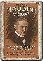 Houdini World Famed Mystifier 注意看板メタル安全標識注意マー表示パネル金属板のブリキ看板情報サイントイレ公共場所駐車ペット誕生日新年クリスマスパーティーギフト