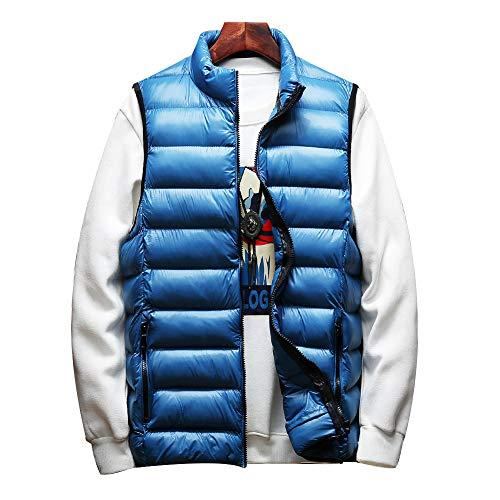 tata 中綿ベスト メンズ ダウンベスト ジャケット 大きいサイズ 軽量 防寒 立ち襟 無地 6色展開 秋 冬 春 コンパクト収納 ブルー 2XL