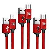 【3本セット】RoiCiel Micro USBケーブル 2.4A急速充電 / 高速データ転送対応 7000+回の曲折テスト 高耐久レザー材質(皮革)ケーブル Android microusb対応 マイクロusbケーブル RC88MCTN-7RA(0.5M 3本セット, レッド)