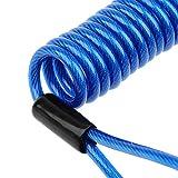 【ノーブランド品】安全 ストラップ スプリング コイル ロープ ディスク ブレーキ ロック リマインダー ケーブ 多種類選ぶ - 青い, 1.2メートル