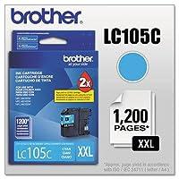 Brother lc105C、lc-105C、Innobellaスーパー大容量インク、1200ページ印刷可、シアン、ケースの2