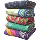 5 Pieces Mix Lot of Indian Tribal Kantha Quilts Vintage Cotton Bed Cover Throw Old Assorted Patches Made Rally