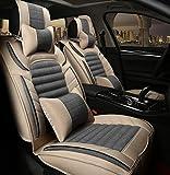(ファーストクラス)FirstClass 四季用 車シートカバー フロント リアシートカバー 滑り止めシート 全席セット 車シート保護 エアバッグホールあり ヘッドレスト付き 腰クッション付き リネンコットン製 通気性に富む 快適 5シート車汎用 10枚 グレー