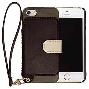 RAKUNI Leather Case for iPhone SE / 5s / 5(アマゾン(グリーン&ダークブラウン))