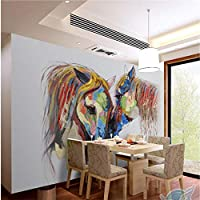 Ansyny ヨーロッパスタイルの手描き色カップル馬油絵背景壁カスタム大壁画wallpaperr-420X280cm