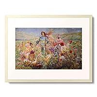 ロシュグロッス 「The knight with the flower nymphs.」 額装アート作品