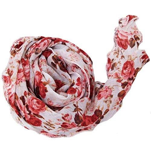 ハッピーハット スカーフ バンダナ 花柄タイプ別 ファッション雑貨 花柄B 薔薇ピンク st-059-02