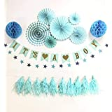 Eshe Baby | High QUALITY | Baby Shower Decorations for Boy | BLUE Party Decorations - It's a BOY BANNER | STAR GARLAND | TASSELS | HONEYCOMB PAPER BALLS | PAPER FANS | PARTY SUPPLY | BOY SET [並行輸入品]