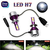 H7 LED Headlight Bulbs 2018 Newest Design All-in-One Conversion Kit COB Chip High or Low Beam Light 6000K White 12000LM High Power Plug & Play ? 3 Year Warranty [並行輸入品]