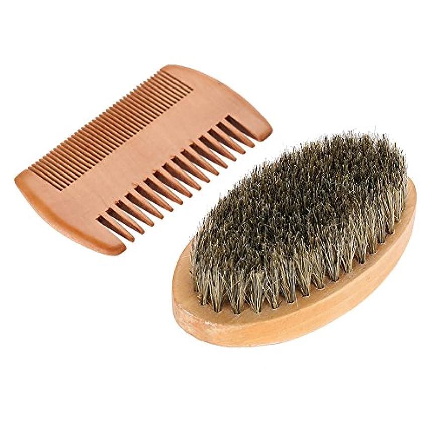 男性の楕円形の木製の楕円形のブラシ+ひげの毛の顔のクリーニングの手入れをするキットのための櫛