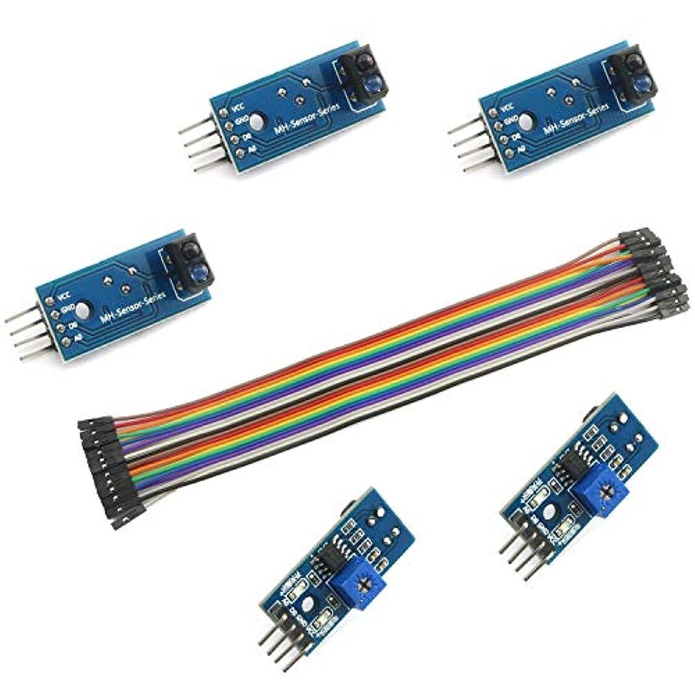 アカウントデュアル存在するDZS Elec 5個 TCRT5000 赤外線反射スイッチ 赤外線バリアライン トラックセンサーモジュール 20ピン 20cm ケーブルライン ジャンパー メス→メスキット Arduino Raspberry Pi スマートカーロボット用