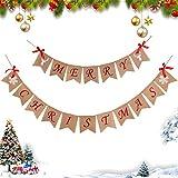Lifegoo クリスマス黄麻布バナー ホリデーバナー ホームオフィスガーデン インドアアウトドアバナー クリスマス炉棚装飾デコレーション