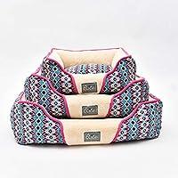 アメリカスタイル オールシーズン ふわふわペットベッド 2柄 クッション付き 厚手 暖かい 洗える S M L 小中型犬用 猫ベッド