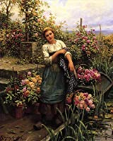 手描き-キャンバスの油絵 - The Flower 船 countrywoman Daniel Ridgway Knight 芸術 作品 洋画 ウォールアートデコレーション -サイズ05