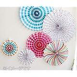 カラフルペーパーファン40センチ カラー豊富 パーティ 飾り 紙 ペーパーぽんぽん ガーランド 壁飾(40cm レインボー)
