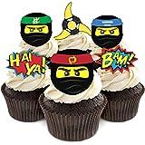 Ninja Cupcake Toppers for Lego Ninjago Themed Birthday Party Supplies