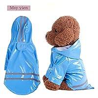 Msy yien ドッグウェア レインコート 小型犬 通気 軽量 散歩 防水 着せやすい 小型犬ペット用品 雨具 防水 軽量 反射テ ープ付き (ブルー, L)
