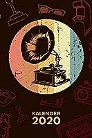 KALENDER 2020: A5 Vintage Terminplaner fuer Nostalgie Liebhaber mit DATUM - 52 Kalenderwochen fuer Termine & To-Do Listen - Grammophon Terminkalender Steampunk Jahreskalender 60er Jahre Mottoparty