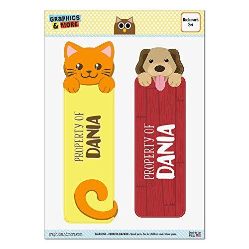 ダニアオレンジ猫と2光沢ラミネートブックマークの犬セット