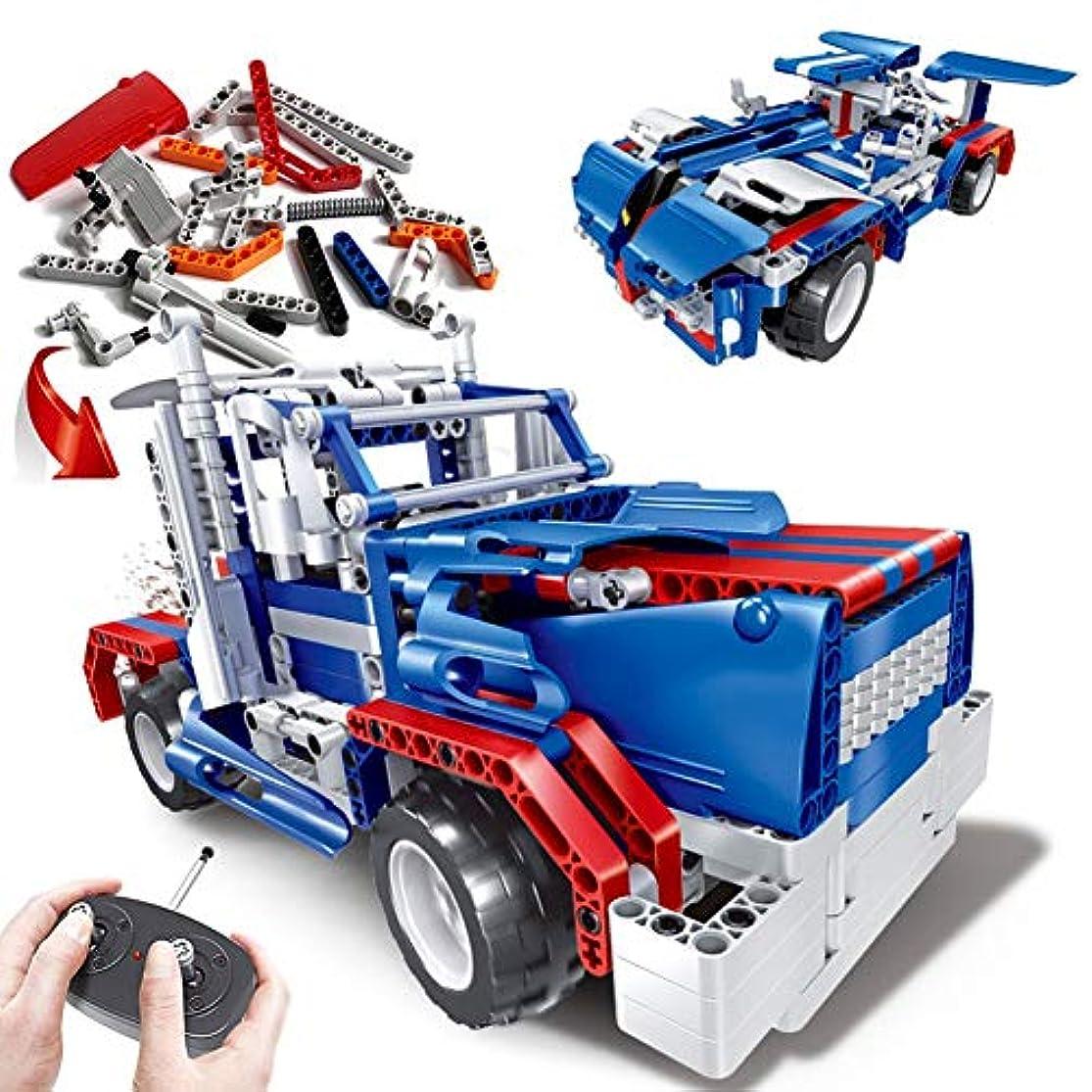 修羅場奨学金飢饉リモートコントロールカービルディングブロックセット、建築用玩具学習キット、6歳以上の子供用、エンジニアリング教育STEM玩具、トップバースデーギフトブルー