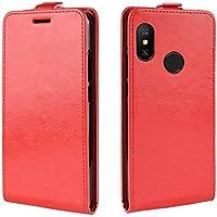 Xiaomi Mi A2 Lite スマホケース、Scheam 開閉式 レザーケースアクセサリー 薄型 カードポケット付き Xiaomi Mi A2 Lite スマホケース (Red)