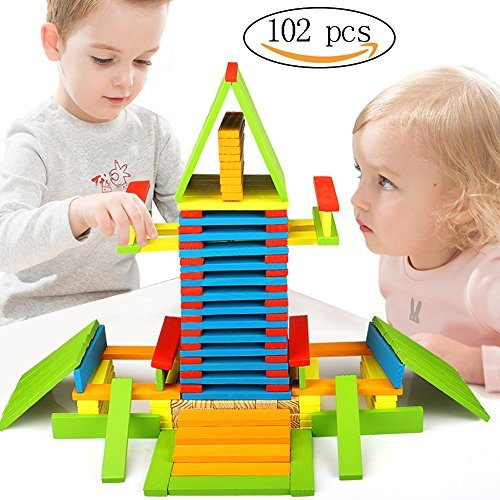 Toyssa 102 Pieces Stacking Tumbling Building Blocks Dominoes Wooden Construction Games Kids Educational Toys for 3 4 5 6 Year Old Toddler Children Boys and Girls
