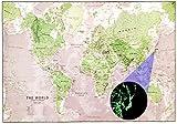 暗くなると光る夜の 世界地図 蓄光 夜光 地図 知育教育 や インテリア に オシャレ な 英語表記