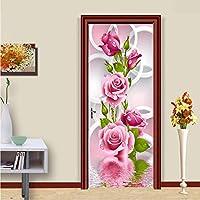 Xbwy 現代のシンプルなピンクの花サークル写真壁画壁紙リビングルームの寝室のドアのステッカーDiyの壁紙用壁3 D-250X175Cm